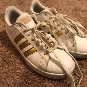White and Gold cloudfoam adidas